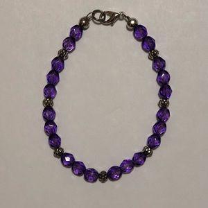 Purple Czech Bead Bracelet